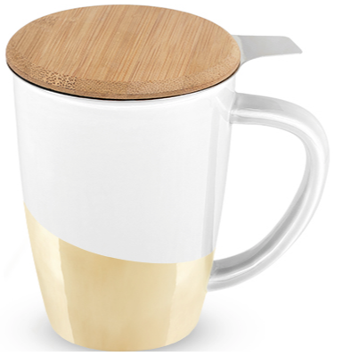 Bailey Ceramic Tea Mug & Infuser in Gold Dipped by Pinky Up