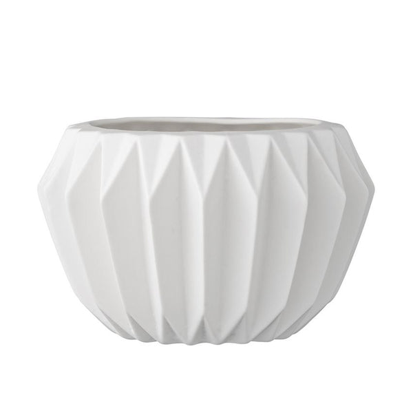 White Fluted Flower Pot