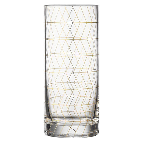 tall drinking glass with gold trim