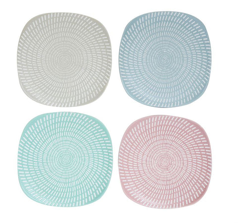 "6"" Stoneware Textured Plate, 4 Colors"
