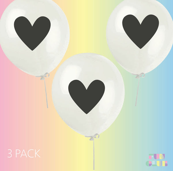 Fun Club - Heart Print Latex Balloons | 3 Pack