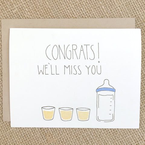 Chalkscribe - We'll Miss You Pregnancy Card