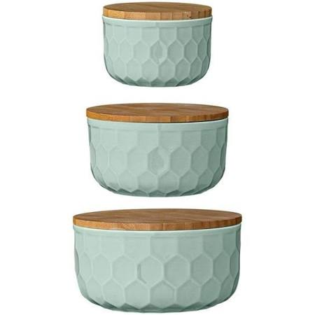 Stoneware Jars with Bamboo Lids