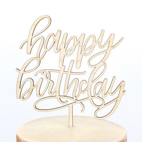 Alexis Mattox Design - Happy Birthday Script Maple Wood Cake Topper