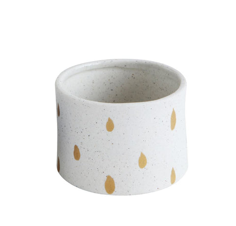 Hand-Painted Stoneware Planter, Gold Dots
