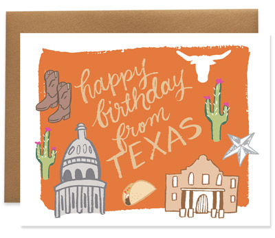 9th Letter Press - Birthday From Texas