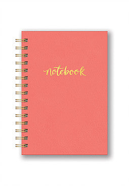 Leatheresque Spiral Notebook- Pop of Coral