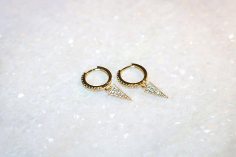 Vermeil & Zircon Hoop Earrings with Hanging Spike