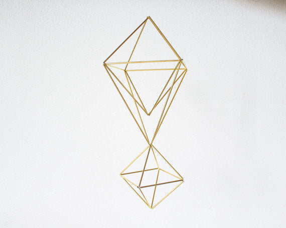 Double Brass Teardrop | Modern Minimalist Geometric Hanging Ornament, Mobile, and Air Plant Holder