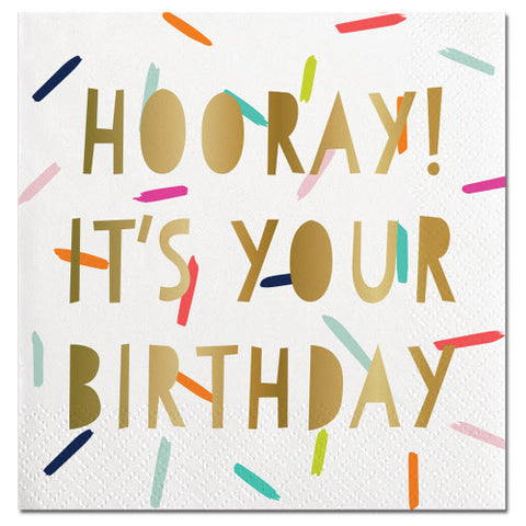 BIRTHDAY BEVERAGE NAPKINS -Beverage Napkins Foil Hooray It's Your Birthday