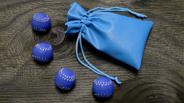 Set of 4 Leather Balls for Cups and Balls (Blue) by Leo Smetsers