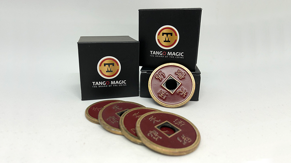 Dollar Size Shell Chinese Coin (Red) by Tango Magic