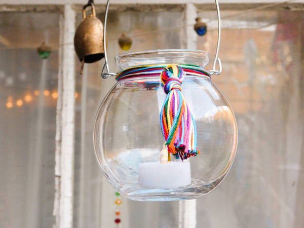 Boho Glass Globe Multicolor Rainbow Tassel Multipurpose Hanging Vase Candle Holder Bohemian Hippie Wedding Decor