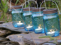 SALE! Discontinued Four Blue Mason Jar Lantern Candle Hanging Holder Heritage Collection Outdoor Lighting Wedding
