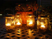Set of Four Ball Mason Jar Clear Lantern Candle Hanging Vase Outdoor Lighting Patio Decor Rustic Wedding Gift