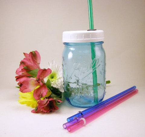 Blue Glass Mason Jar Reusable To Go Cup Tumbler Small Mouth Mommy's Sippy Cup Heritage Collection