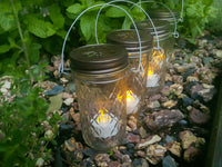 SALE! Four Quilted Mason Jar Lights Lantern Candle Hanging Vase Outdoor Lighting