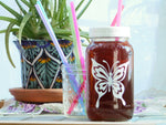 Butterfly Mason Drinking Jar Travel Cup with Lid and Straw