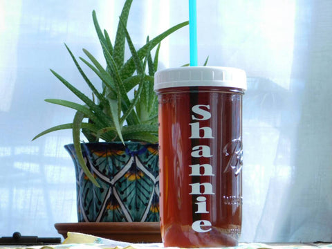 Personalized Custom Name Mason Jar Travel Cup Pint and a Half 24 oz with Wide Mouth Lid and Straw