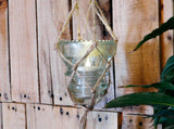 Vintage Clear Glass Insulator Hanging Vase Candle Holder Bohemian Boho Beach Coastal Outdoor Lighting Macrame Plant Hanger