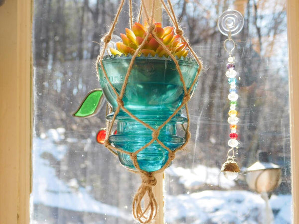 Macrame Hanging Vintage Blue Glass Insulator Vase or Candleholder