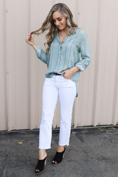 Blue Moon Button Down Top: Sage - ShopSpoiled