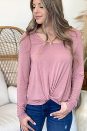 Khloe Knot Top: Mauve - ShopSpoiled