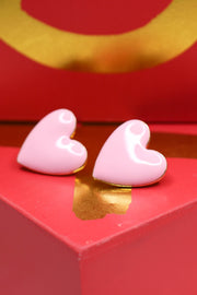 Lucky In Love Heart Earring: Pink - ShopSpoiled