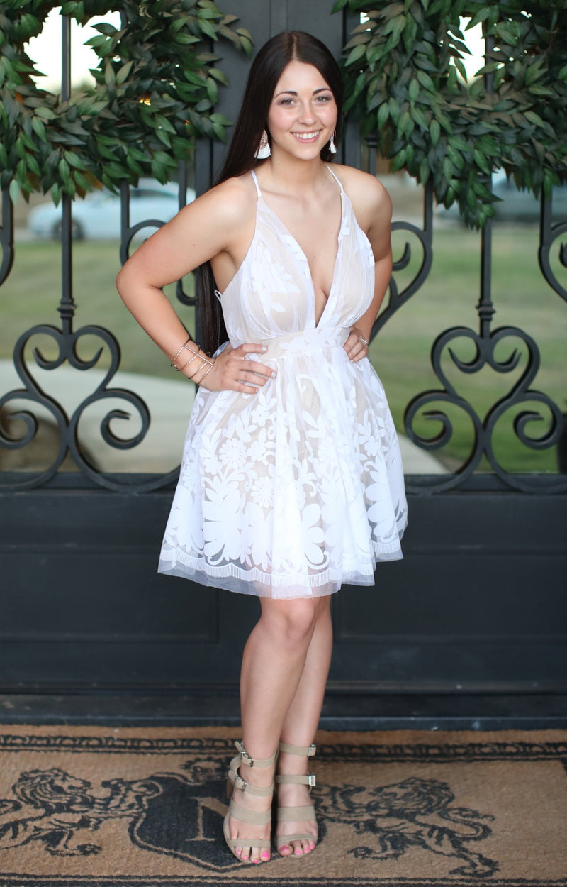 Cut The Cake Dress: White/Nude - ShopSpoiled