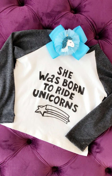 Kids Born To Ride Unicorns Top - ShopSpoiled