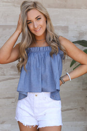 Sofie Top: Denim - ShopSpoiled