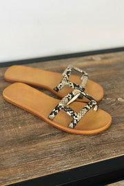 Tessa Sandals: Snake - ShopSpoiled
