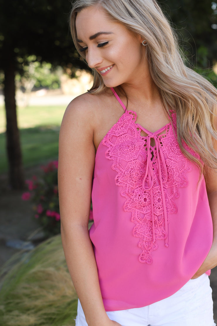 Lace me up top : Pink - ShopSpoiled