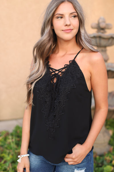 Lace me up top : Black - ShopSpoiled