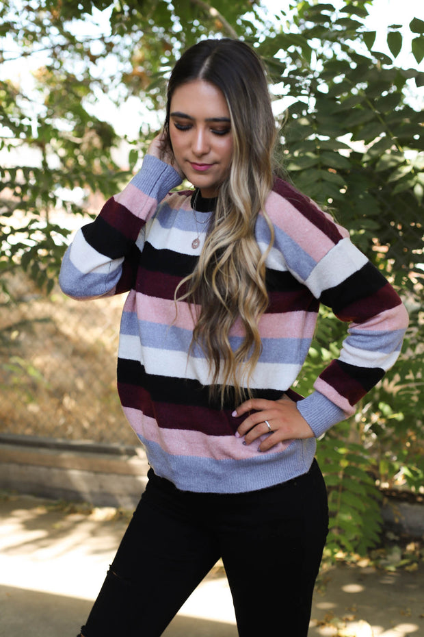 We Came We Saw Sweater: Maroon/Rose - ShopSpoiled