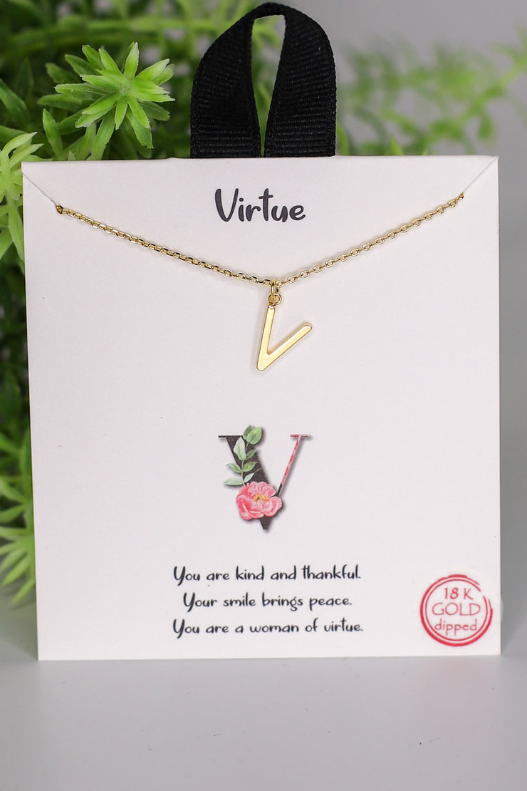 V: Virtue Initial Necklace - ShopSpoiled