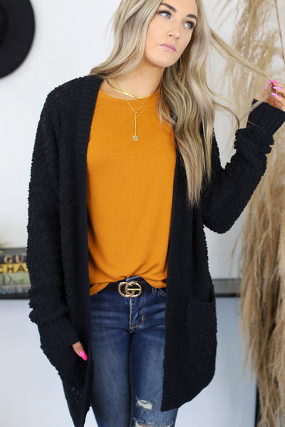 On The Horizon Cardigan: Black - Shop Spoiled Boutique