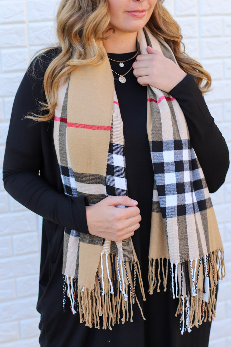 Hanson Plaid Scarf: Taupe - ShopSpoiled