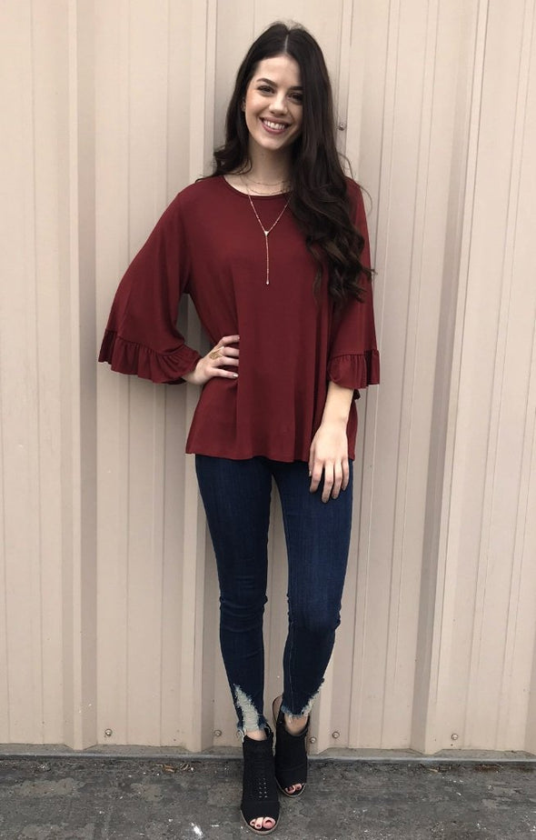 Take It Easy Ruffle Sleeve Top: Brick - ShopSpoiled