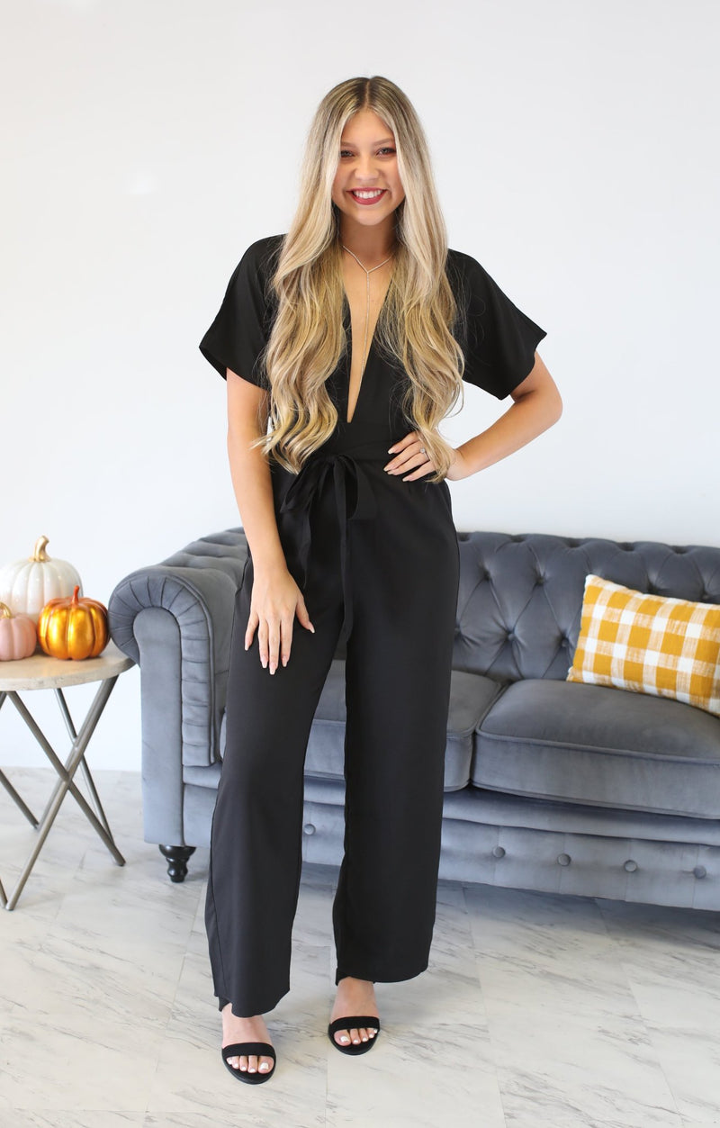 Buttercup Jumpsuit: Black - ShopSpoiled