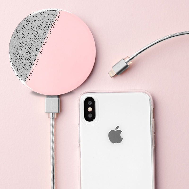 Pink/Silver Portable Charger w/ Mirror - ShopSpoiled
