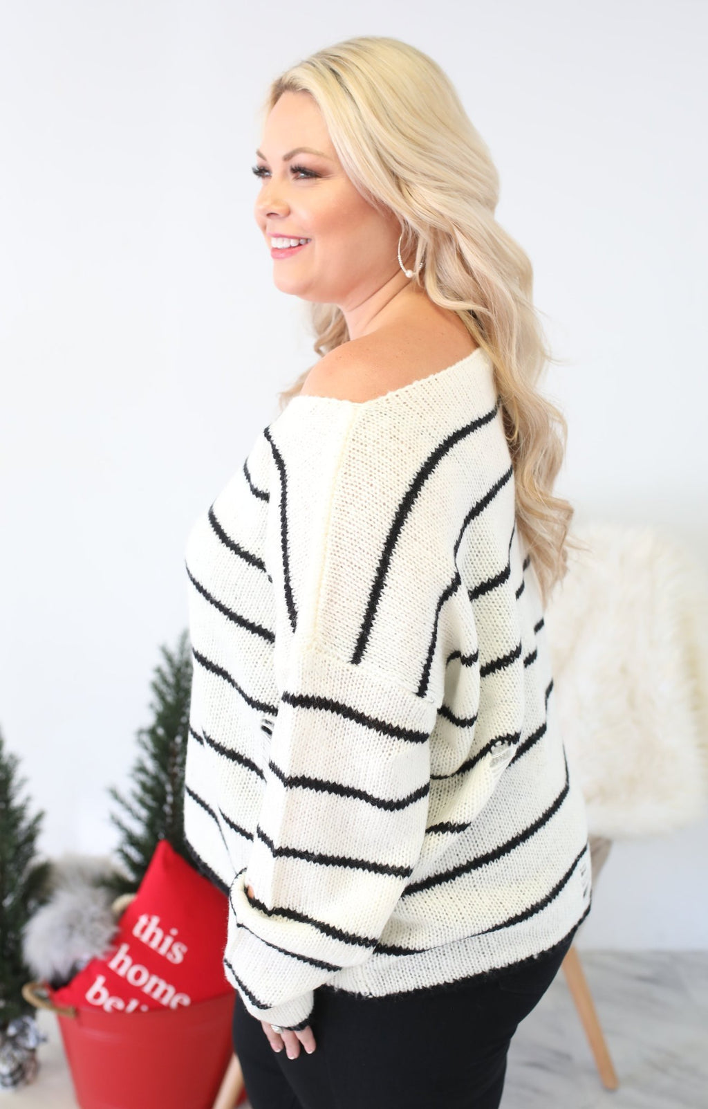 Celebrate The Days Xtra Sweater: Ivory - ShopSpoiled