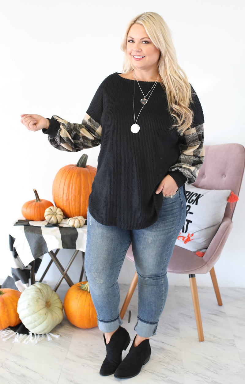 Cozy Days Xtra Top: Black - ShopSpoiled