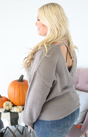 Crossed Up Sweater Xtra: Pearl Grey - ShopSpoiled