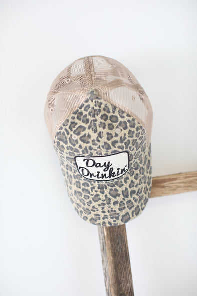 Day Drinkin Trucker Hat: Leopard - ShopSpoiled