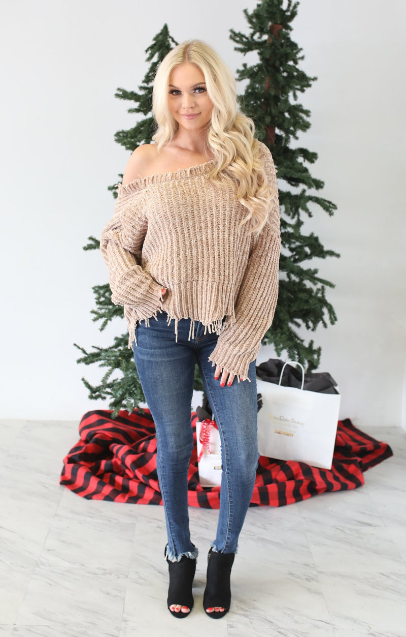 Designer Sweater: Khaki - ShopSpoiled