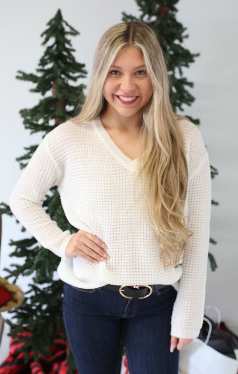 Family Ties Sweater: White - ShopSpoiled