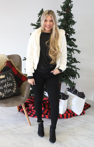 Festive Faux Fur Jacket: Ivory - ShopSpoiled