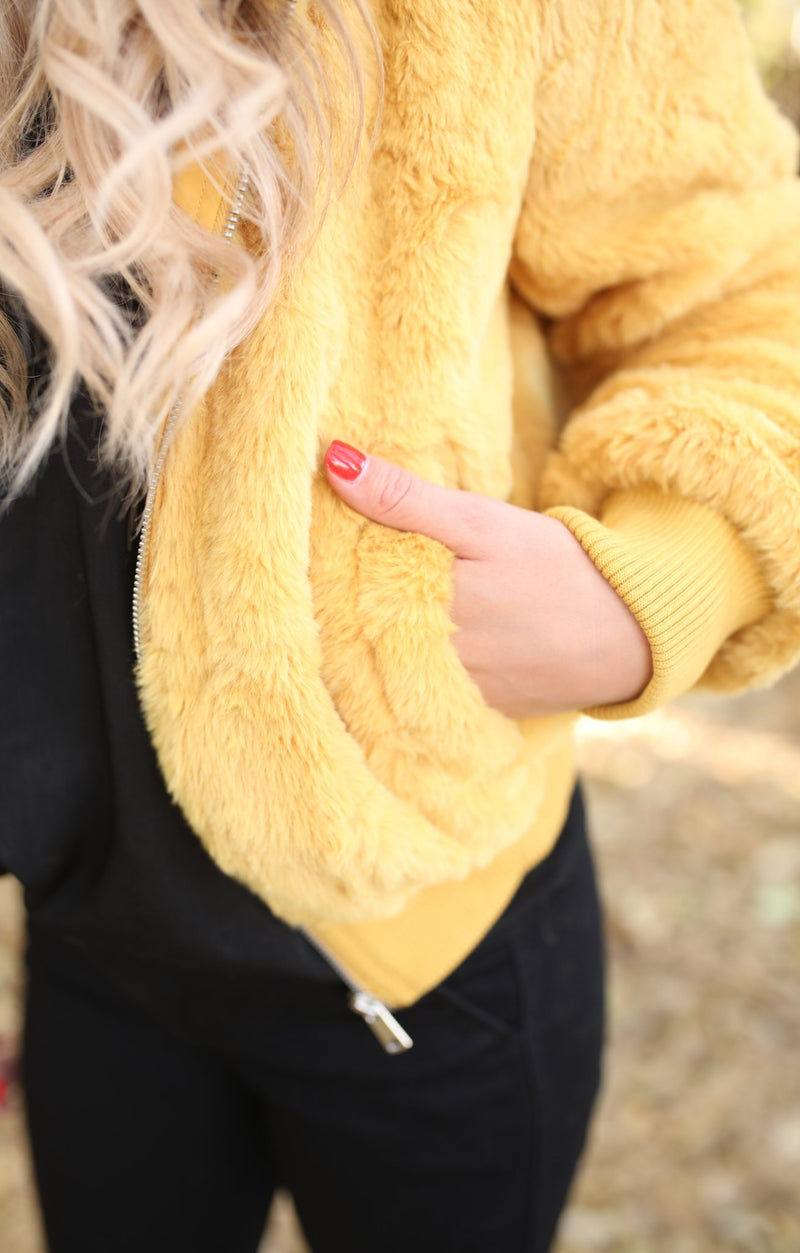 Festive Fur Jacket: Mustard - ShopSpoiled