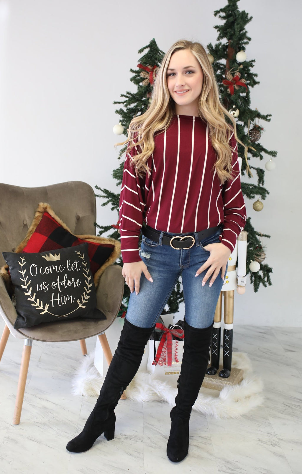Fraser Fir Top: Burgundy - ShopSpoiled
